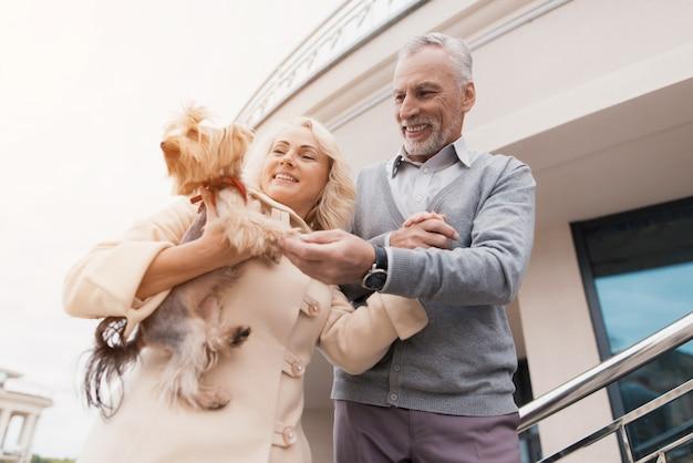 Mulher abraça cãozinho. dois pensionistas no parque.