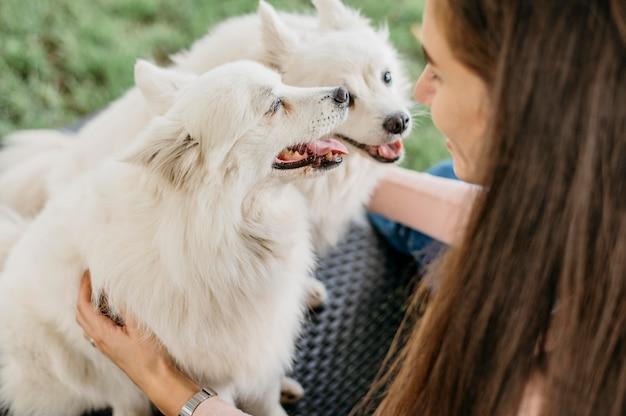 Mulher acariciando cachorros adoráveis
