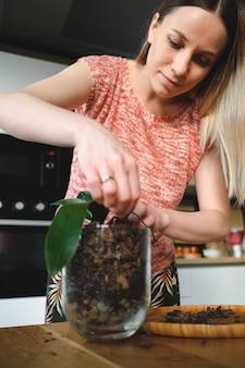 Mulher adorável que transplanta flores em casa