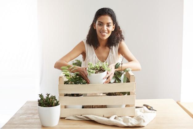 Mulher africana bonita que sorri tomando o vaso de flores da caixa com as plantas sobre a parede branca.