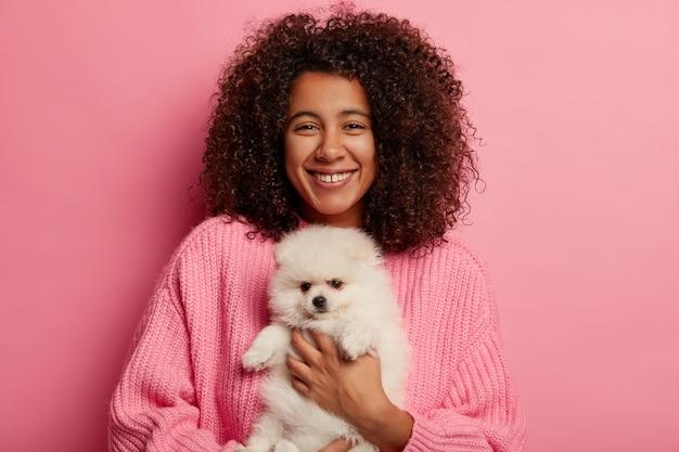 Mulher afro-americana positiva posa com spitz fofo nas mãos, cão de estimação, tem expressão alegre para adotar animais domésticos isolados sobre fundo rosa.