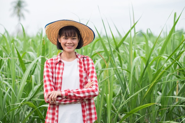 Mulher agricultora asiática com sorriso de camisa vermelha e pé na fazenda de milho
