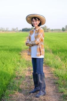 Mulher agricultora asiática cruzando os braços em fazenda de arroz verde