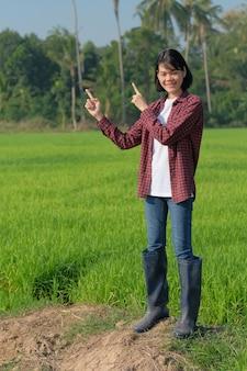 Mulher agricultora asiática de corpo inteiro usa camisa vermelha levantada com a mão apontando para cima na fazenda de arroz.
