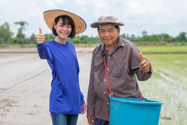 Mulher agricultora asiática e pai do velho agricultor sorriem e levantam a mão com o polegar na fazenda de arroz ao ar livre