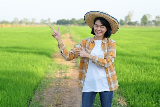 Mulher agricultora asiática em pé e levanta a mão apontando para o lado na fazenda de arroz verde