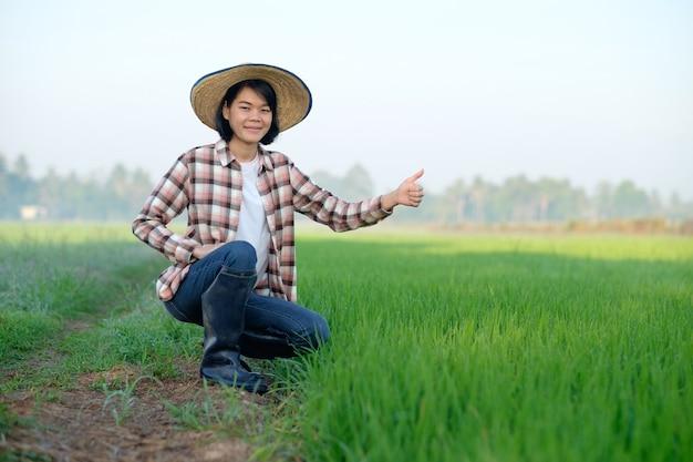 Mulher agricultora asiática sentada com chapéu e polegar para cima em uma fazenda de arroz verde