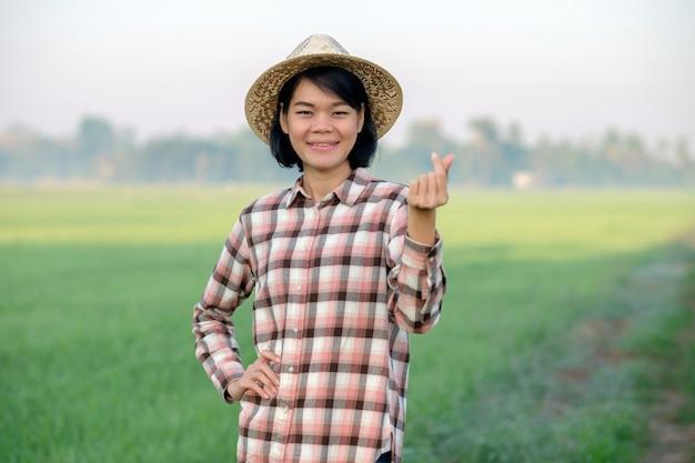 Mulher agricultora asiática sorri e faz cartazes caros com os dedos em uma fazenda de arroz verde