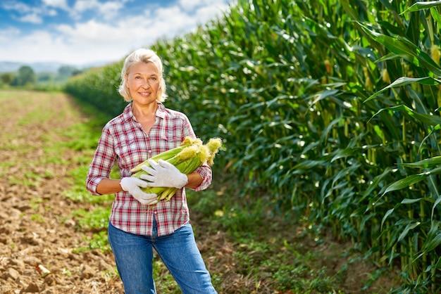 Mulher agricultora com uma safra de milho