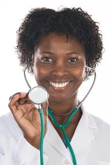 Mulher americana africana, doutor, um, sobre, fundo branco