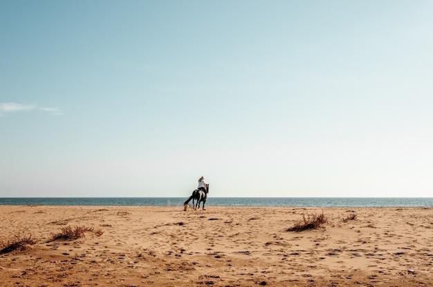 Mulher andando a cavalo na praia