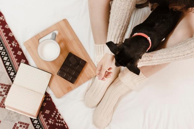 Mulher anônima com cachorro perto de sobremesa e livro