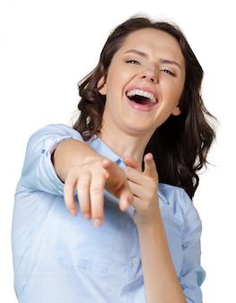 Mulher apontando e rindo de você