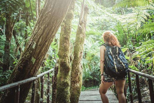 Mulher asia travellers travel natureza florestas, montanhas. chiangmai doiinthanon tailândia