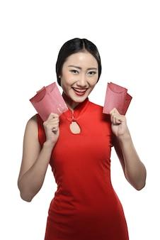 Mulher asian, em, cheongsam, vestido