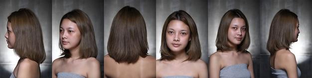 Mulher asiática antes de aplicar maquiagem estilo de cabelo. sem retoque, olhos de rosto frescos com acne, verrugas, pele bonita e lisa, visão traseira lateral traseira. resumo de iluminação de estúdio desfocar o fundo cinza escuro,