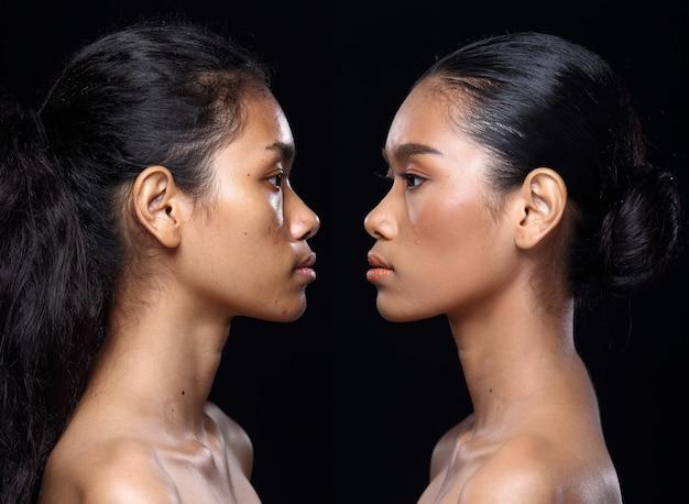 Mulher asiática antes de aplicar maquiagem estilo de cabelo. sem retoque, rosto fresco com pele bonita e macia. fundo preto da iluminação do estúdio. vista traseira lateral traseira em retrato