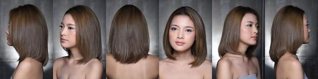 Mulher asiática após a aplicação de maquiagem estilo de cabelo. sem retoque, olhos de rosto frescos com acne, verrugas, pele bonita e lisa, visão traseira lateral traseira. resumo de iluminação de estúdio desfocar o fundo cinza escuro,