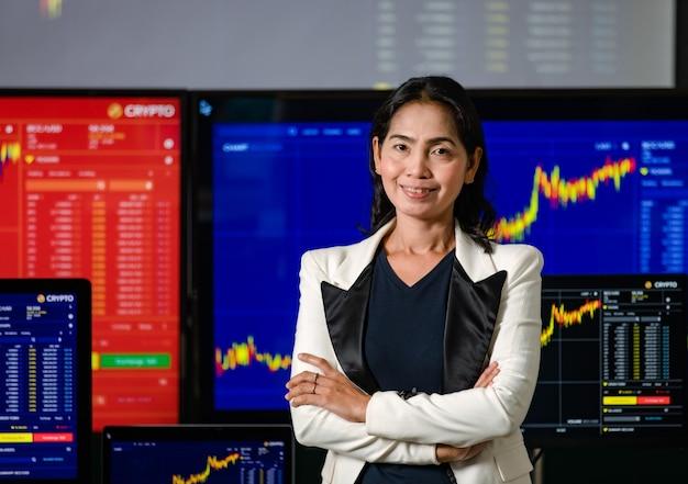 Mulher asiática bem-sucedida corretora profissional corretora investidor stand sorriso braço cruzado olhar para a câmera na frente dos monitores do computador com análise de gráfico de ações criptomoeda bitcoin.