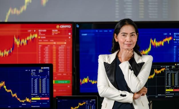 Mulher asiática bem-sucedida corretora profissional corretora investidor stand sorriso braço cruzado segurar a mão no queixo olhar para câmera na frente de monitores de computador com análise de gráfico de ações de criptomoeda bitcoin.