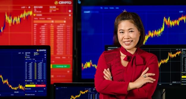 Mulher asiática bem-sucedida corretora profissional corretora investidora estande sorriso braço cruzado olhar para a câmera