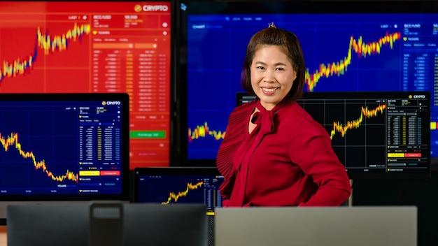 Mulher asiática bem-sucedida corretora profissional investidor está sorrindo e olhando para a câmera na frente da tela do computador com análise de gráfico de estoque e criptomoeda bitcoin.