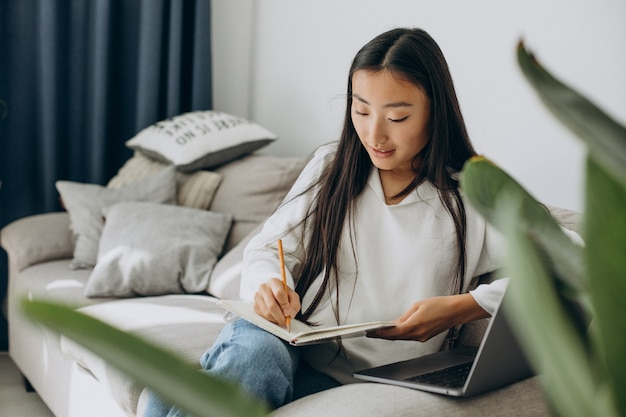 Mulher asiática estudando em casa e lendo no sofá