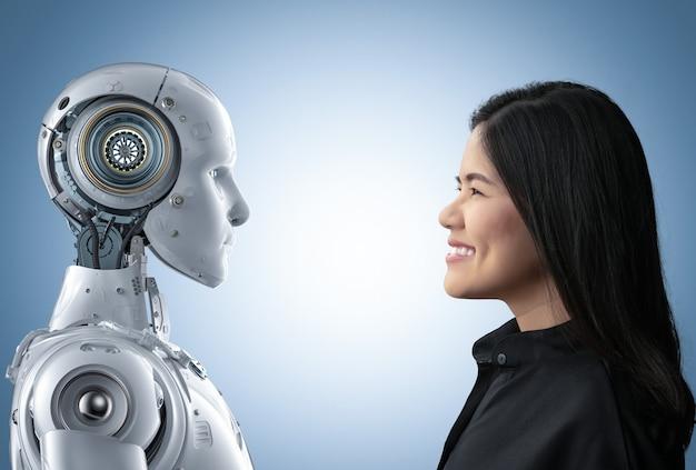 Mulher asiática feliz vivendo com ciborgue ou robô