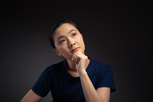 Mulher asiática pensando no problema, emoção preocupada e confusa, isolada no fundo.