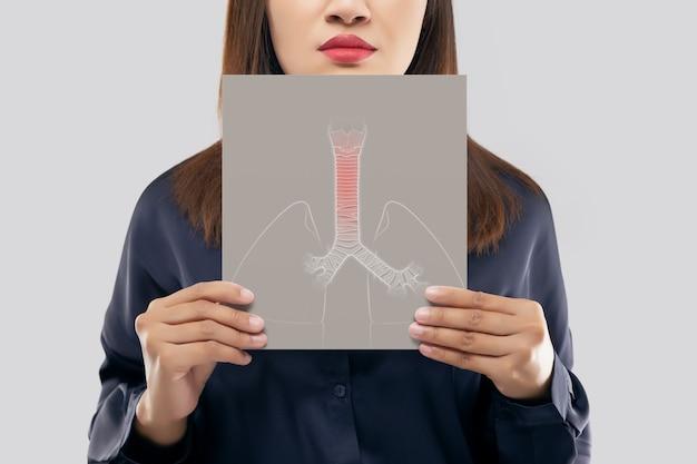Mulher asiática segurando uma imagem de traqueia e pulmões de papel branco de sua boca contra o fundo cinza.