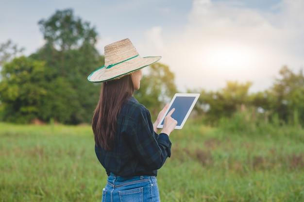 Mulher asiática usando um tablet em um campo agrícola