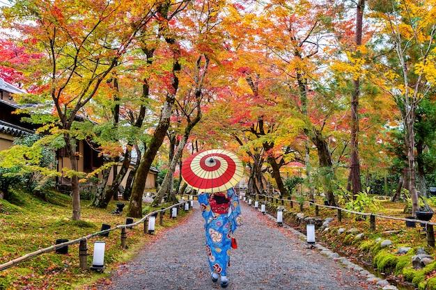 Mulher asiática vestindo quimono tradicional japonês, caminhando no parque outono.