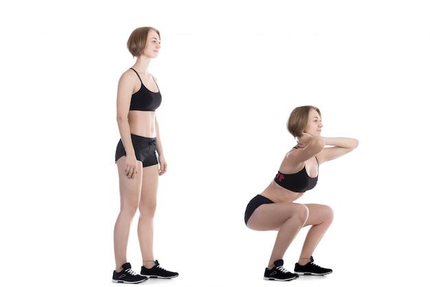 Mulher ativa em duas posições diferentes