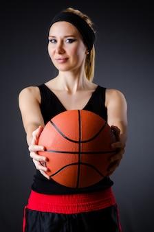 Mulher, basquetebol, desporto, conceito