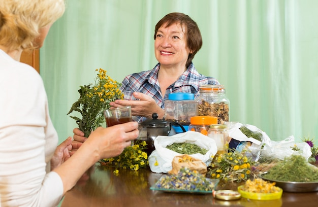 Mulher bebendo chá de ervas com sua amiga