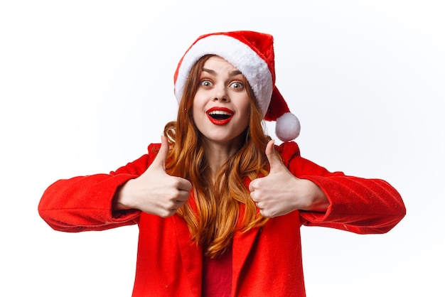 Mulher bonita alegre natal feriado do papai noel