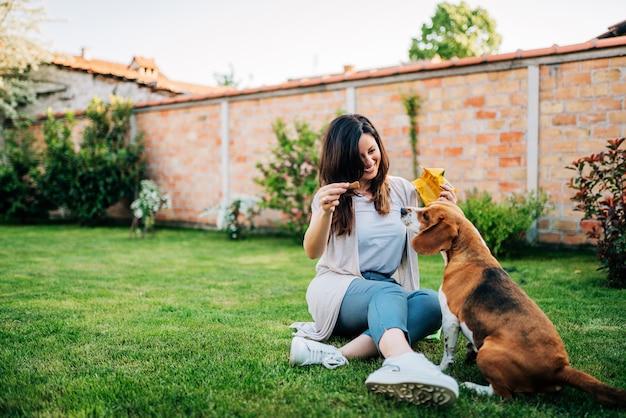Mulher bonita, alimentando seu cachorro beagle no quintal.
