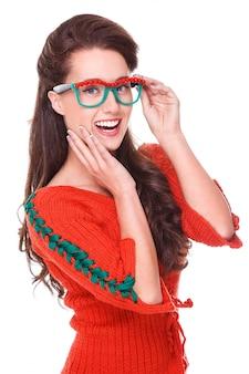 Mulher bonita camisola vermelha