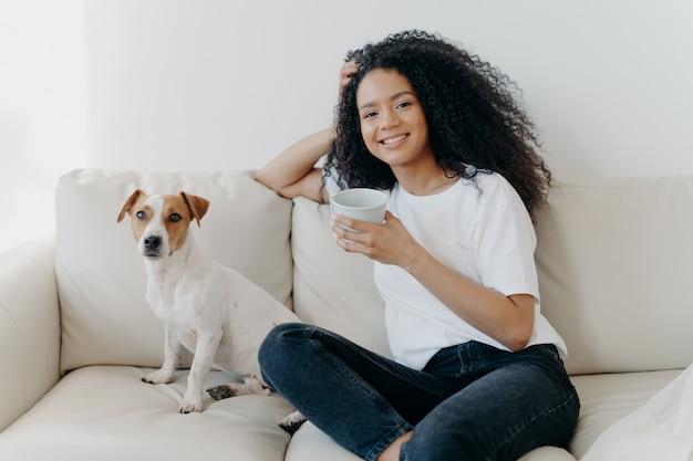 Mulher bonita com cabelo afro, bebe café, posa na sala de estar no sofá com cachorro de raça