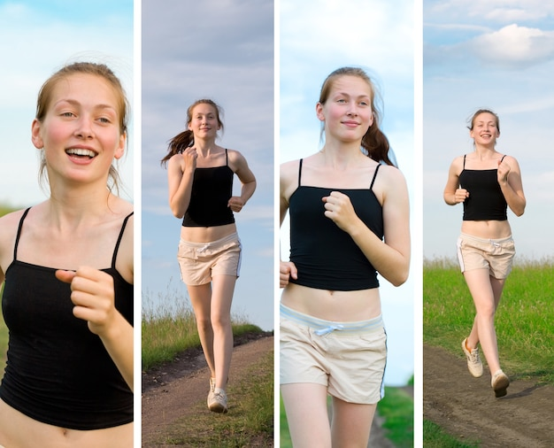 Mulher bonita correndo no campo