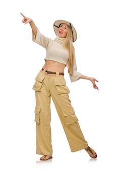 Mulher bonita em calças bege isolado no branco