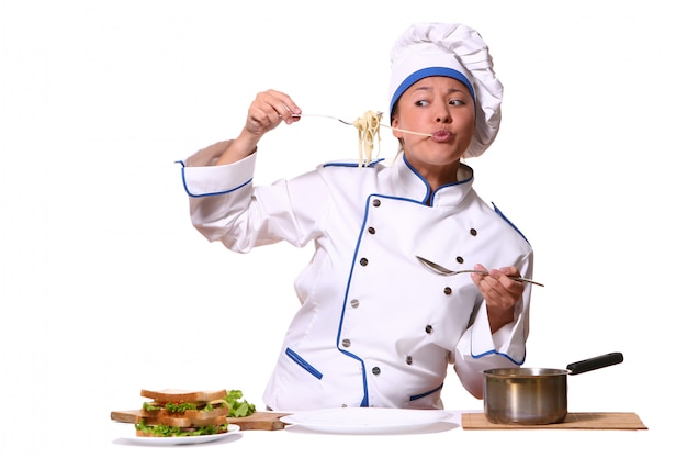 Mulher bonita em imagem de chef