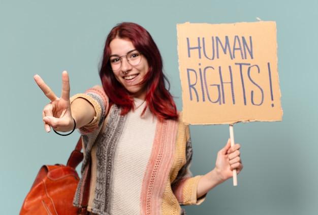 Mulher bonita estudante ativista