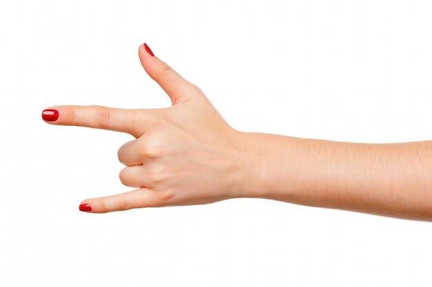 Mulher bonita mão sinal segurando isolado