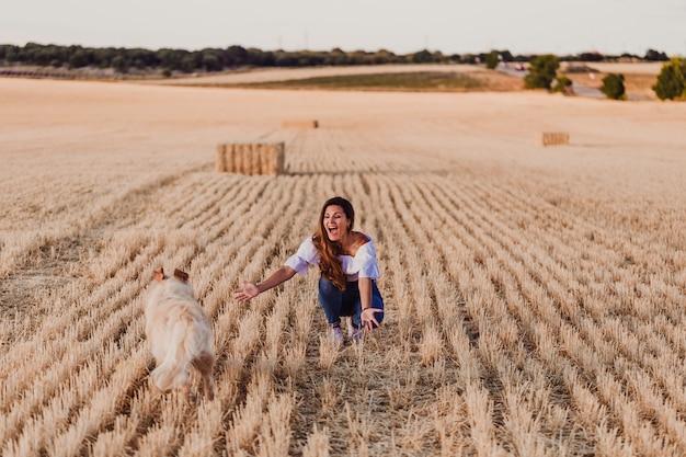 Mulher bonita nova que anda com seu cão do golden retriever em um campo amarelo no por do sol. cão engraçado correndo para seu dono