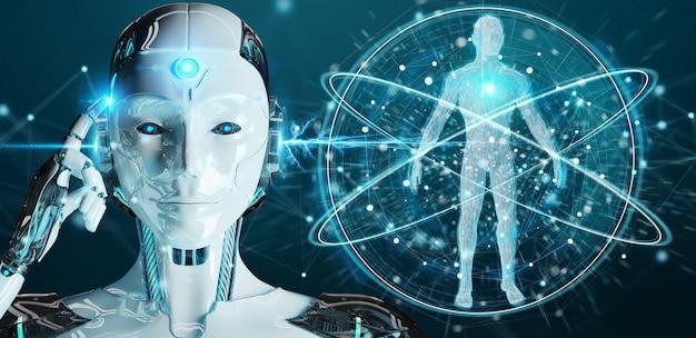 Mulher branca, robô, fazendo exame varredura, corpo humano, 3d, fazendo
