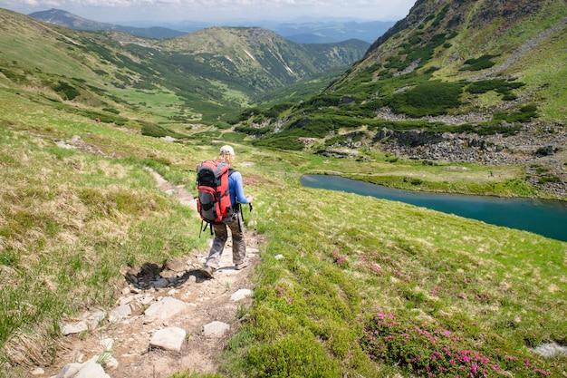Mulher, caminhadas com paus nas montanhas dos cárpatos