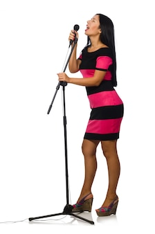 Mulher, cantando, em, karaoke, clube, branco
