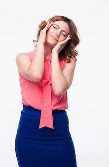 Mulher casual com dor de cabeça