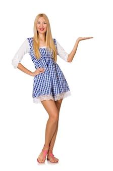 Mulher caucasiana, em, xadrez azul, vestido, isolado